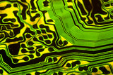 Electronic circuit board background showing wires and microchips poster