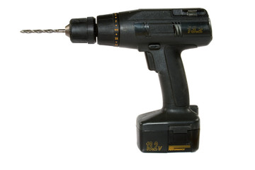 Cordless hand drill with drill bit and battery