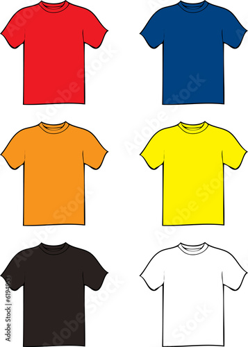collection of six tshirts in different colours