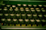 Old dusty typewriter keyboard. author and copyright concept poster