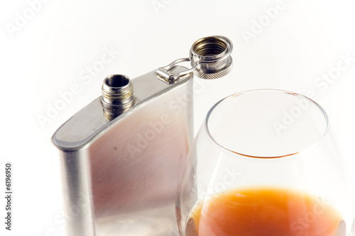 Flask from stainless steel  on white background.