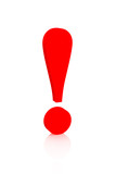 Exclamation mark of red color - objects over white poster