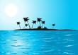 Leinwanddruck Bild Tropical beach in the blue sunny day, vector illustration