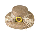 Woven flax hat with sunflower isolated with clipping path poster