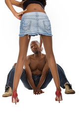 African American peeping up skirt, girl slapping him