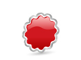 3D red vector badge with contour poster