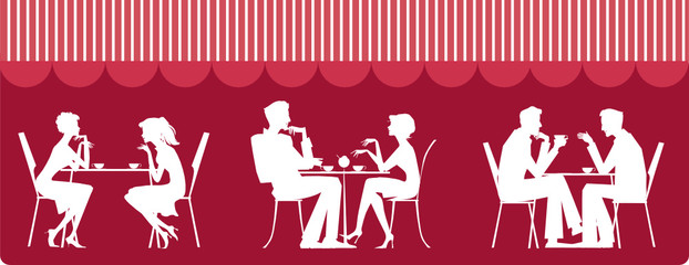 Silhouettes of people sitting at cafe
