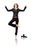 Businesswoman bare feet meditating shot in studio poster