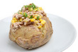 Baked potato with tuna, sweetcorn and mayonaise