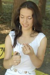 Beautiful girl smoking