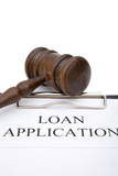 business concept with loan application form and gavel poster