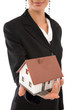 real estate concept with businesswoman and a mini house