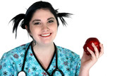 young healthcare person with apple poster