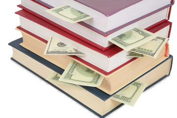Cup of books with dollars