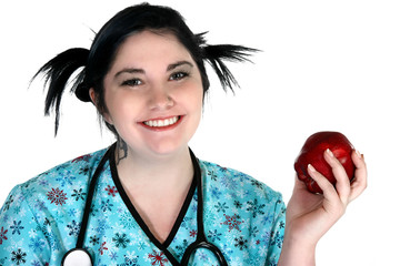 young healthcare person with apple