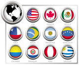 Vector flags of states from continent of America poster