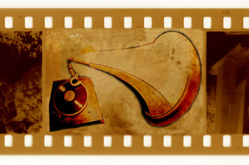 old 35mm frame photo with vintage gramophone