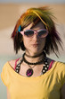 Portrait of a Punk Girl with Bright Colorful and Sunglasses