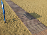 Beach Abstract: Wooden pathway on Sand poster