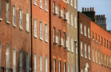 Rows of brick buildings in Dublin, Ireland.