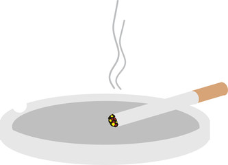 Cigarette in ashtray with smoke