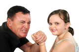 Father and young daughter playing around arm wrestling. poster