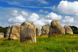 Prehistoric megalithic monuments in Carnac area in France poster