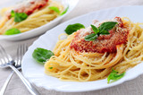 Fototapety Pasta with tomato sauce basil and grated parmesan