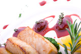 Dish from a tuna, grapes, sauce and greens. poster