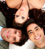 happy group of friends smiling in a love triangle  poster