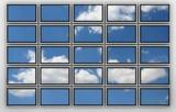 wall of plasma tvs