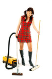 Woman with a vacuum cleaner and broom poster