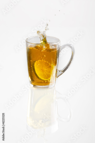 tea with lemon in gauzy cup