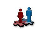 Man and woman problem solving together poster