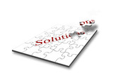 Design concept for problem solving with jigsaw pieces poster