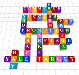 crossword 9 - sale, commerce, promotion; profit, retail, success