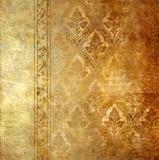 Postarzała w kolorze złota tapeta- motywy florystyczne - 6226347