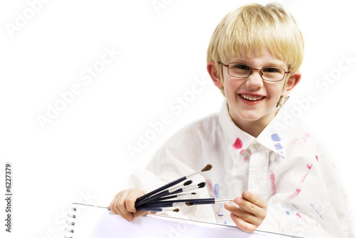 little artist is proud on his painting
