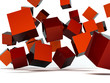 Falling and hitting red cubes