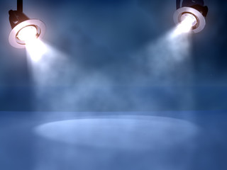 working spotlights on a club stage