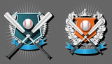 Blank Baseball emblem template with bat, wreath and ribbon poster