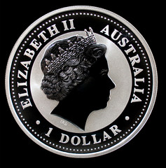 Australian silver coin, isolated on black background