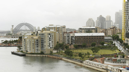 Sydney harbour bridge and the suburb or Pyrmont