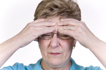 Woman suffering with headache pain