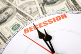 dollar and clock face, concept of Economic Recession poster