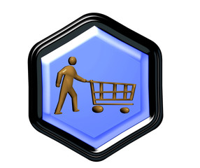 Pentagon button for web shopping in 3D
