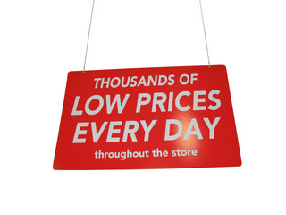 Isolated big, red and shiny retail sale shopping sign hanging