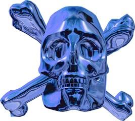 Blau metallic Totenschädel