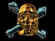 Goldener Totenschädel mit silbernen Knochen