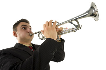 Man in suit standing and trumpet melody. Low angle view.